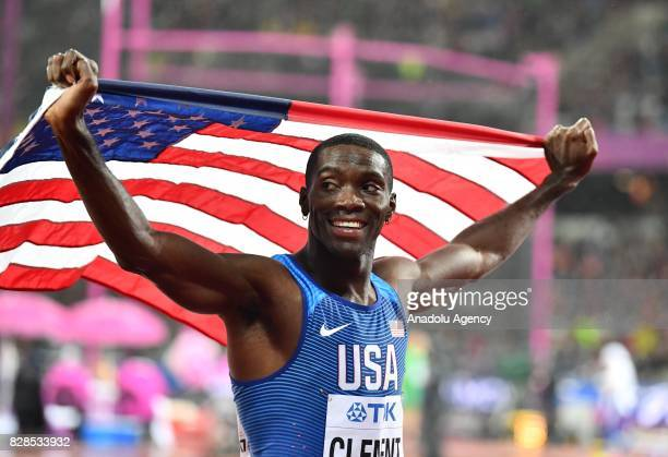 Kerron Clement of the USA celebrates finishing in third place in the Men's 400 metres hurdles during the 'IAAF Athletics World Championships London...