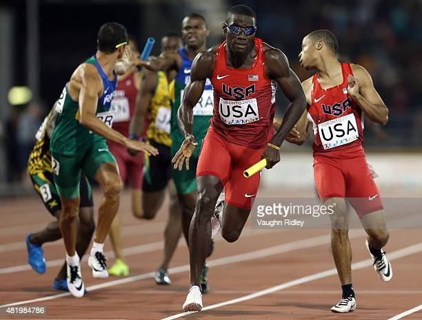 Kerron Clement of the USA runs the anchor leg in the Men's 4x400m Final during Day 15 of the Toronto 2015 Pan Am Games at the Pan Am Athletics...