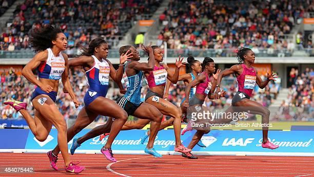 Kerron Stewart of Jamaica right wins the women's 100metres during the Sainsbury's Birmingham Grand Prix Diamond League at the Alexander Stadium on...