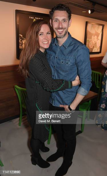 Kerry Ann Lynch and Blake Harrison attend the launch of Wahlburgers UK debut restaurant on May 4, 2019 in London, England.