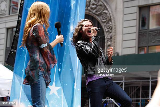 Kerry Butler and Constantine Maroulis performs during Broadway On Broadway 2009 in Times Square on September 13 2009 in New York City