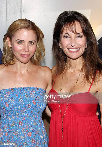 Kerry Butler and Susan Lucci pose backstage at the hit musical 'Catch Me If You Can' on Broadway at The Neil Simon Theater on July 6 2011 in New York...