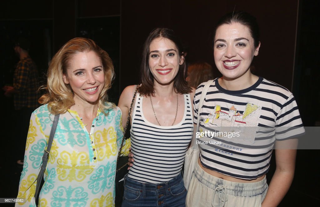 Kerry Butler, Lizzy Caplan and Barrett Wilbert Weed pose backstage at the hit musical based on the film 'Mean Girls' on Broadway at The August Wilson Theater on May 26, 2018 in New York City.