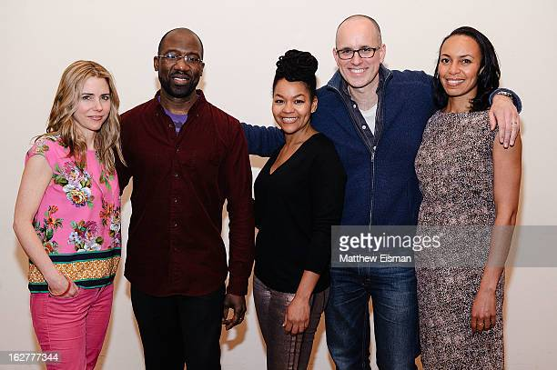 Kerry Butler Russell G Jones Crystal A Dickinson Kelly AuCoin and Eisa Davis attend the The Call cast press preview at Playwrights Horizons on...