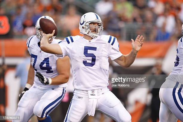 Kerry Collins of the Indianapolis Colts throws a pass in the first half of an NFL preseason game against the Cincinnati Bengals at Paul Brown Stadium...