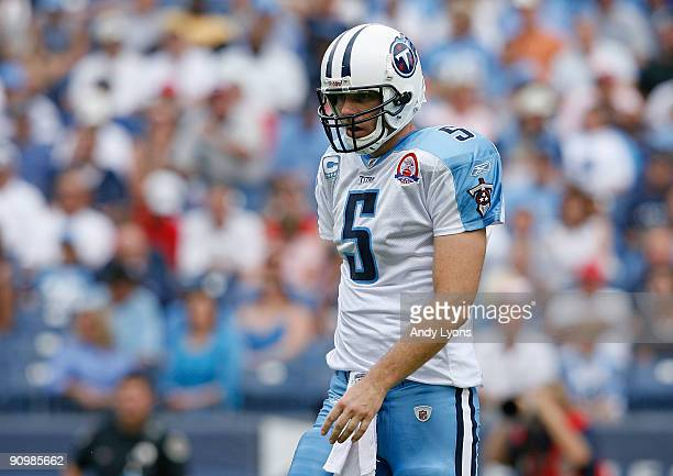 Kerry Collins of the Tennessee Titans walks off of the field during the NFL game against the Houston Texans at LP Field on September 20 2009 in...