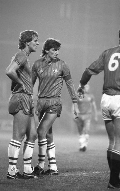 Kerry Dixon and Colin Pates of Chelsea in action during the Full Members Cup match between Charlton Athletic and Chelsea at The Valley on October...