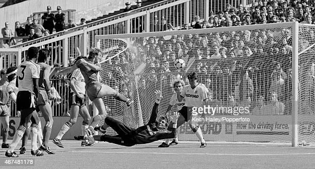 Kerry Dixon scores for Chelsea during the 1st Division match between Luton Town and Chelsea on the artificial pitch at Kenwilworth Road in Luton, 7th...