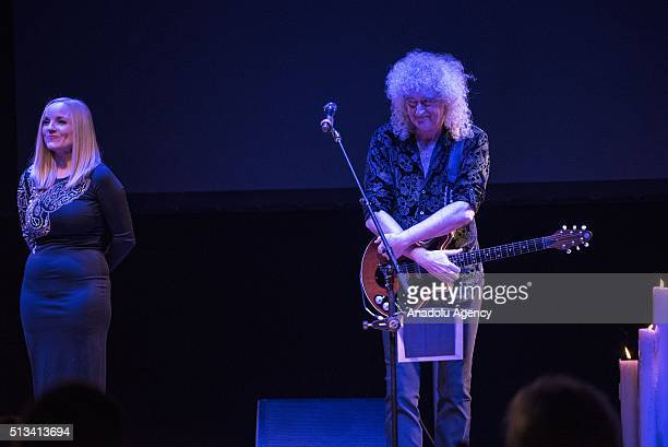 """Kerry Ellis and Brian May perform during the """"ONE VOICE"""" tour at Congress Center on March 02, 2016 in Krakow, Poland. The """"ONE VOICE"""" tour is a..."""