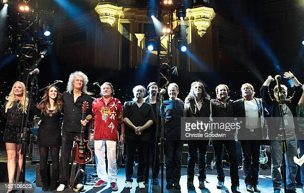Kerry Ellis Sandi Thom Brian May Brian Auger Ian Paice Micky Moody John Paul Jones Alice Cooper Alfie Boe Mark King and Bruce Dickinson greet the...