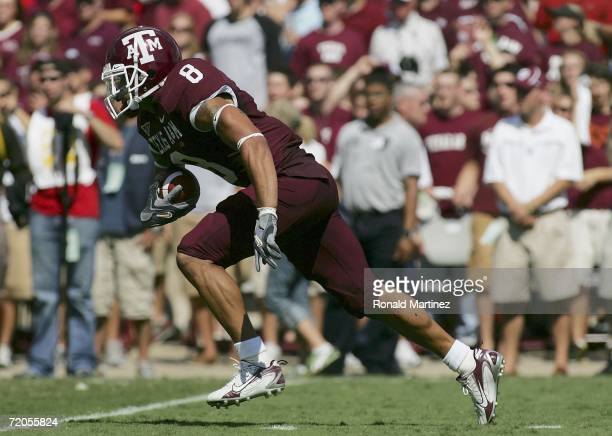 Kerry Franks of the Texas A&M Aggies runs a 99 yard kickoff return for a touchdown against the Texas Tech Red Raiders at Kyle Field on September 30,...