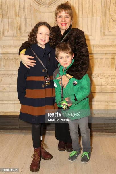 Kerry Godliman and family attend the Opening Night performance of Cirque Du Soleil OVO at the Royal Albert Hall on January 10 2018 in London England