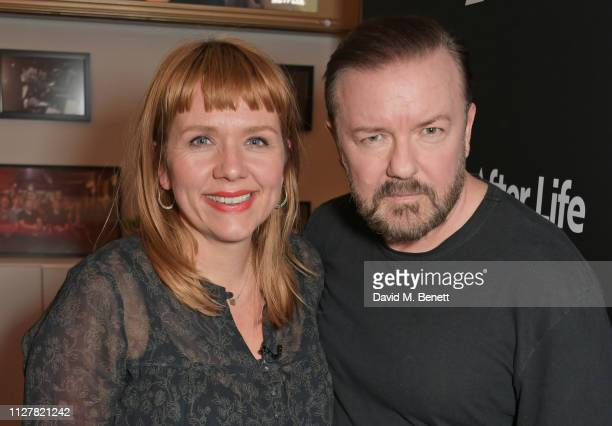 Kerry Godliman and Ricky Gervais attend a special screening and QA for new Netflix series After Life at BAFTA on February 27 2019 in London England