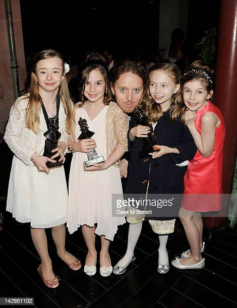Kerry Ingram Cleo Demetriou Tim Minchin Sophia Kiely and Eleanor Worthington Cox of Matilda The Musical attends an after party following the 2012...