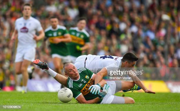 Kerry Ireland 4 August 2018 Kieran Donaghy of Kerry in action against Mick O'Grady of Kildare during the GAA Football AllIreland Senior Championship...