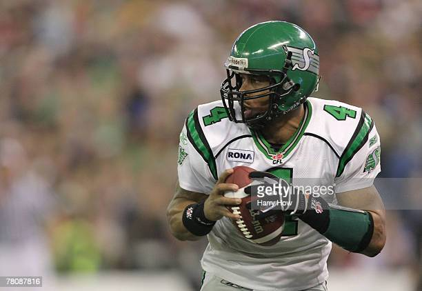 Kerry Joseph of the Saskatchewan Rough Riders drops back in the pocket against the Winnipeg Blue Bombers during the third quarter of the 95th Grey...