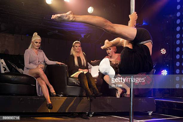 Kerry Katona judge on Porn Idol pictured with Band Members Natasha and Liz and at GAY Heaven on August 25 2016 in London England