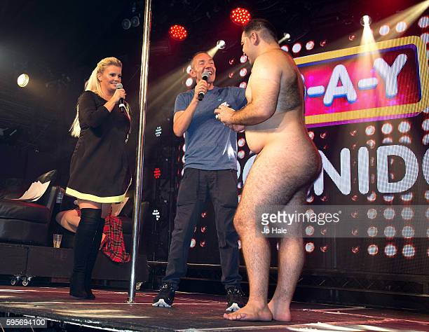 Kerry Katona judges GAY Porn Idol with Jeremy Joseph and Kassan at GAY Heaven on August 25 2016 in London England