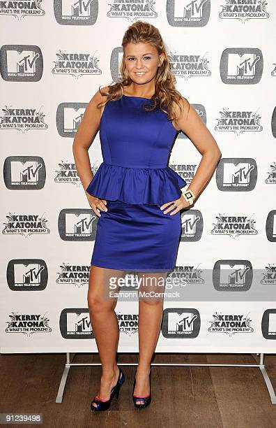 Kerry Katona poses at a photocall to Launch her new MTV series 'Whats the Problem' at the Charlotte Street Hotel on May 5 2009 in London England