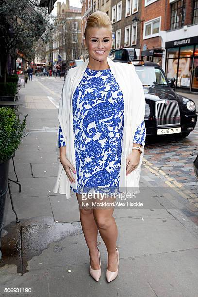 Kerry Katona seen arriving at the Covent Garden Hotel where she is launching her new venture Bingo with Kerry on January 26 2016 in London England