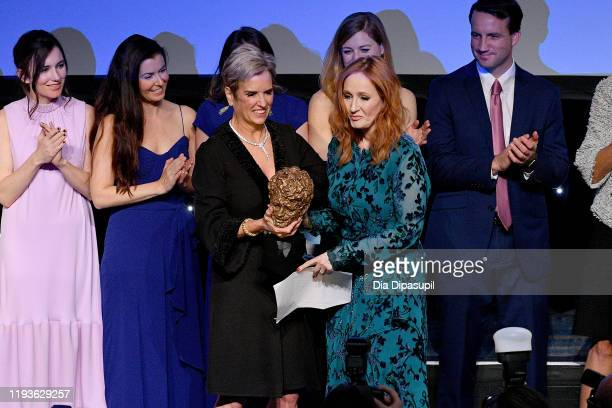 Kerry Kennedy and JK Rowling onstage at the 2019 RFK Ripple of Hope Awards at New York Hilton Midtown on December 12 2019 in New York City