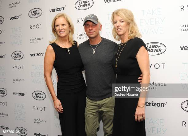 Kerry Kennedy Kenny Chesney and Rory Kennedy attend 'Take Every Wave The Life Of Laird Hamilton' New York Premiere at The Metrograph on October 4...