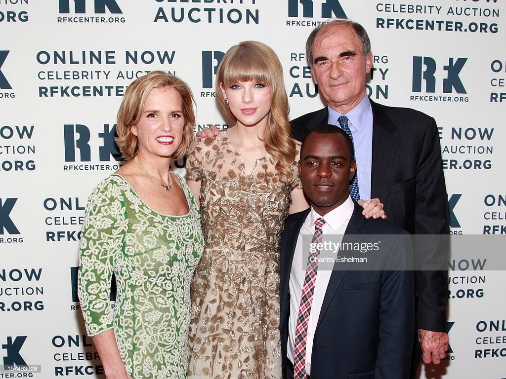 Kerry Kennedy, Taylor Swift, Vincent A. Mai and Frank Mugisha attend the Robert F. Kennedy Center for Justice and Human Rights 2012 Ripple of Hope gala at The New York Marriott Marquis on December 3, 2012 in New York City.