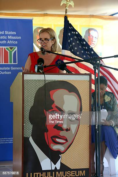 Kerry Kennedy the daughter of Senator Robert F Kennedy speaks during a visit to the Luthuli museum in Groutville on May 31 2016 in KwaZuluNatal The...