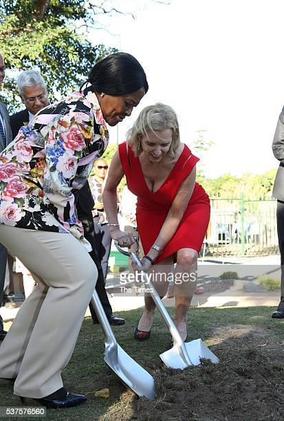 Kerry Kennedy with Dr Albertina Luthuli during sod turning outside Albert Luthuli's house in Groutville on May 31 2016 in KwaZuluNatal The US family...