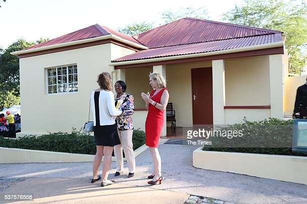 Kerry Kennedy with her daughter Mariah Kennedy Cuomo and Dr Albertina Luthuli outside Albert Luthuli's house in Groutville on May 31 2016 in...