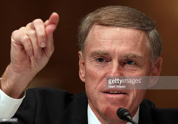 Kerry Killinger, former Washington Mutual Bank chief executive, testifies during a Senate Homeland Security and Governmental Affairs Committee...