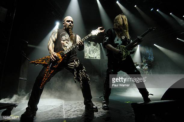 Kerry King and Jeff Hanneman of Slayer perform with the band during the American Carnage Tour at the UIC Pavilion on August 20 2010 in Chicago...