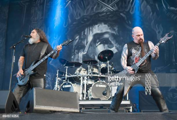 Kerry King and Tom Araya of Slayer performing live on Day 3 of Download Festival at Donington Park on June 11 2017 in Castle Donington UK