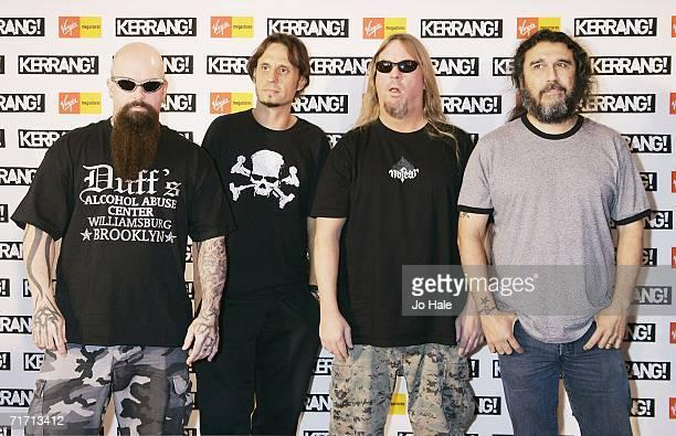 Kerry King Dave Lombardo Jeff Hanneman and Tom Araya of band Slayer arrive at the Kerrang Awards 2005 the annual music magazine's prestigious awards...
