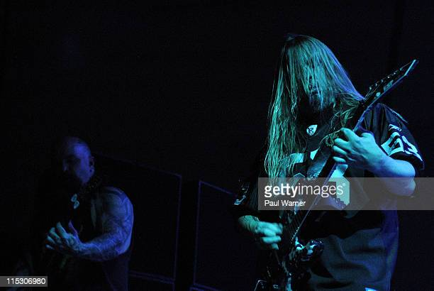 Kerry King left and Jeff Hanneman of Slayer during Slayer Unholy Alliance Tour at Cobo Arena July 6 2006 at Cobo Arena in Detroit Michigan United...