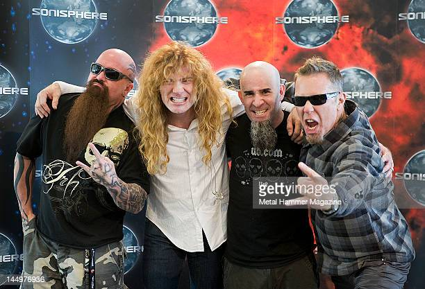 Kerry King of Slayer Dave Mustain of Megadeth Scott Ian of Anthrax and James Hetfield of Metallica Backstage during Sonisphere festival June 16Warsaw