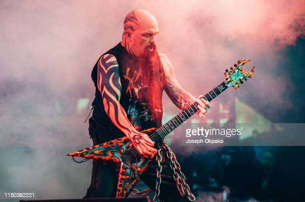 Kerry King of Slayer performs on stage during day 3 of Download festival 2019 at Donington Park on June 14 2019 in Castle Donington England