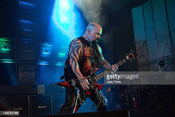 Kerry King of SLAYER performs onstage during the 2012 Rockstar Energy Drink Mayhem Festival at the Riverbend Music Center on July 24 2012 in...