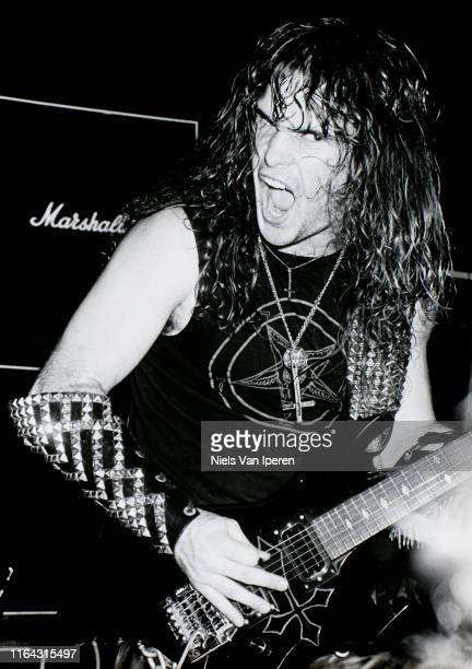 Kerry King Slayer performing on stage Dynamo Eindhoven Netherlands 28th May 1985