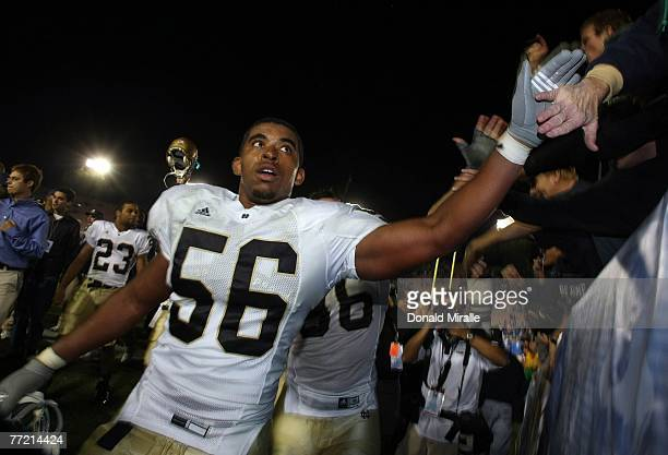 Kerry Neal of the Notre Dame Fighting Irish celebrates his team's 20-6 upset over the UCLA Bruins during their NCAA Football game at the Rose Bowl...