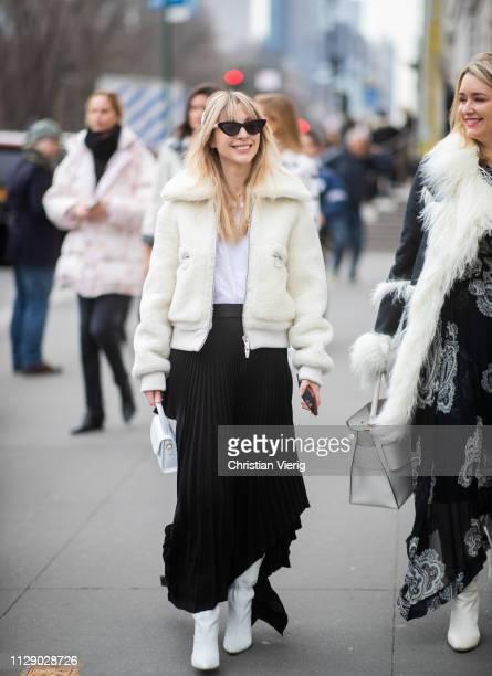Kerry Pieri is seen wearing cropped jacket, black pleated skirt outside Carolina Herrera during New York Fashion Week Autumn Winter 2019 on February...