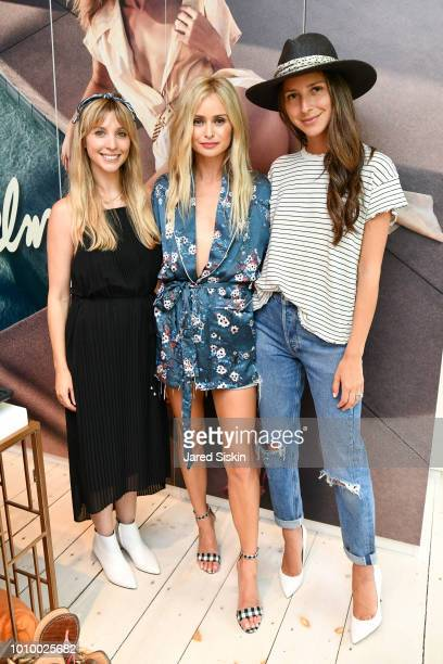 Kerry Pieri Natalie Obradovich and Arielle Charnas attend Harper's BAZAAR X Sam Edelman MidSummer Hamptons Event on August 2 2018 in Southampton New...