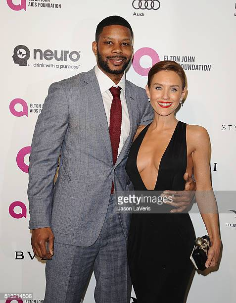 Kerry Rhodes and Nicky Whelan attend the 24th annual Elton John AIDS Foundation's Oscar viewing party on February 28 2016 in West Hollywood California