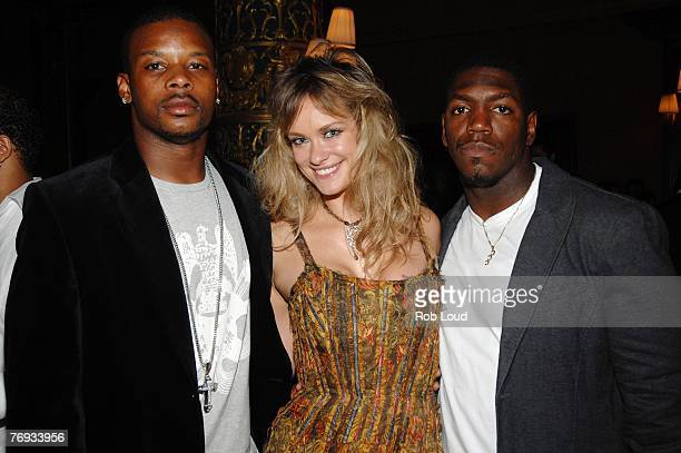 Kerry Rhodes Natalia Sokolova and Jonathan Vilma pose at the launch of Exquisite Planning at Prince George Ballroom on Septmeber 20 2007 in New York...