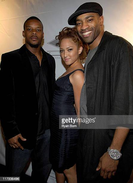 Kerry Rhodes of the New York Jets Naima Mora Winner of America's Next Top Model Season Two and Vince Carter