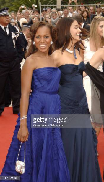 Kerry Washington and Aishwarya Rai during 2006 Cannes Film Festival The Wind That Shakes The Barley Premiere at Palais Du Festival in Cannes France