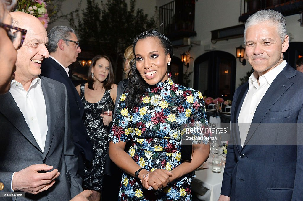 Kerry Washington and Efraim Grinberg attend dinner celebrating Kerry Washington hosted by ELLE, Editor-In-Chief, Robbie Myers and Movado, Chairman & CEO, Efraim Grinberg at A.O.C. on April 2, 2016 in Los Angeles, California.