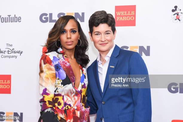 Kerry Washington and Eliza Byard attend 2017 GLSEN Respect Awards Arrivals at the Beverly Wilshire Four Seasons Hotel on October 20 2017 in Beverly...