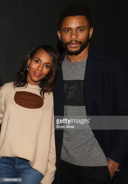 Kerry Washington and husband Nnamdi Asomugha pose at a screening for Annapurna Pictures film If Beale Street Could Talk hosted by Kerry Washington at...