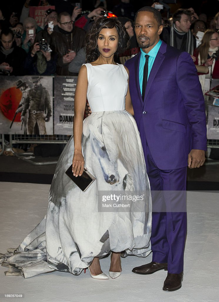 Kerry Washington and Jamie Foxx attend the UK premiere of 'Django Unchained' at Empire Leicester Square on January 10, 2013 in London, England.